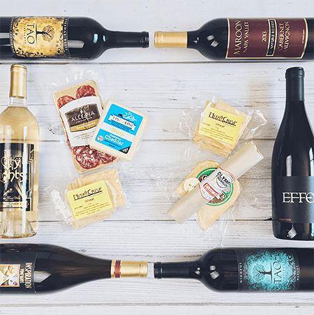 Wine, Salumi, Cheese, and Crackers