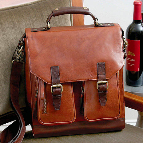 Leather, Three-bottle BYO Wine Bag
