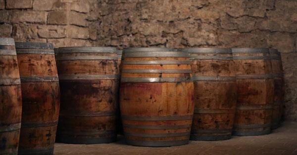 Wine Barrels in a Barrel Room