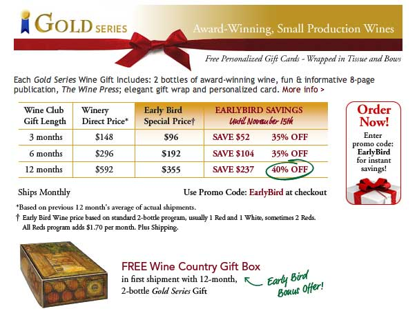 Special Offer Gold Series Wine Club