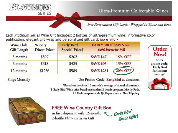 Special Offer Platinum Series Wine Club
